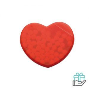 Pepermuntdispenser hart rood bedrukken