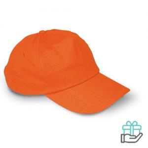 Petje katoen oranje bedrukken