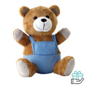 Pluchen teddybeer blauw bedrukken