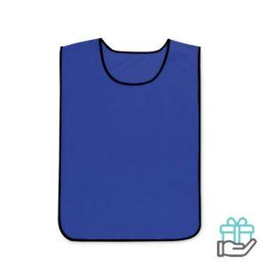 Polyester sportwedstrijd hesje blauw bedrukken