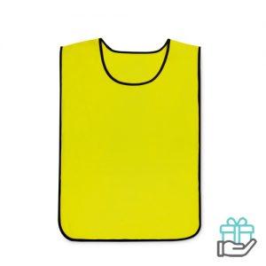 Polyester sportwedstrijd hesje geel bedrukken