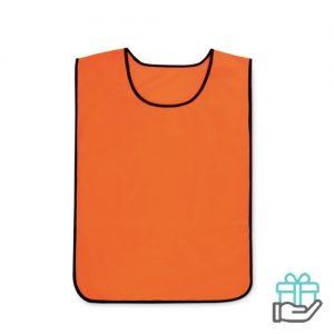 Polyester sportwedstrijd hesje neon oranje bedrukken