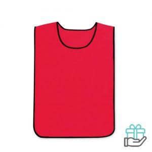 Polyester sportwedstrijd hesje rood bedrukken