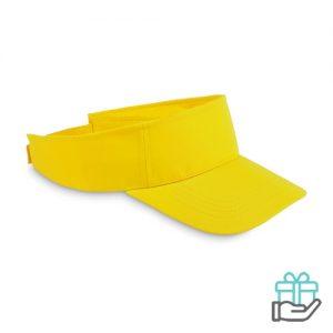 Polyester zonneklep geel bedrukken