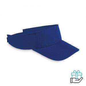 Polyester zonneklep koninklijk blauw bedrukken