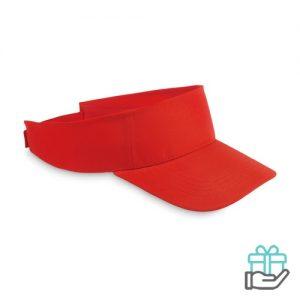 Polyester zonneklep rood bedrukken