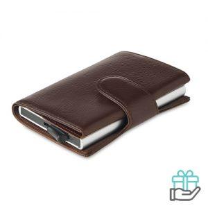 RFID Kaarthouder portemonnee kunstleer bruin bedrukken