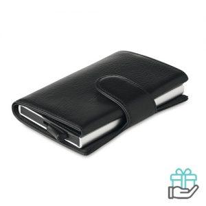 RFID Kaarthouder portemonnee kunstleer zwart bedrukken