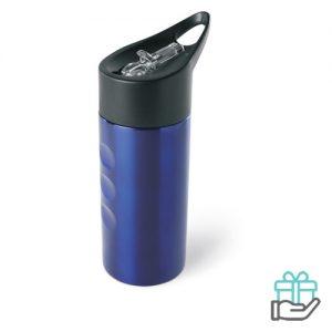 RVS drinkfles 500ml blauw bedrukken