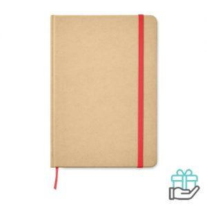 Recycled A5 notitieboek leeslint rood bedrukken