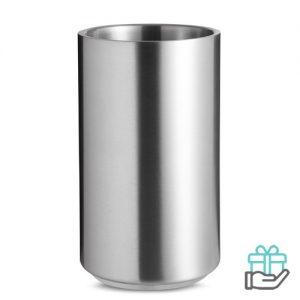 Roestvrijstalen flessenkoeler mat zilver bedrukken