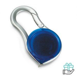 Rolmaat karabijnhaak transparant blauw bedrukken