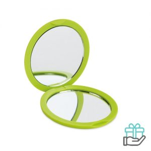 Ronde make-up spiegel limegroen bedrukken