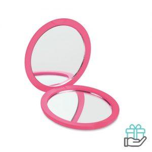 Ronde make-up spiegel roze bedrukken