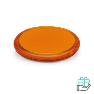 Ronde spiegel transparant transparant oranje bedrukken