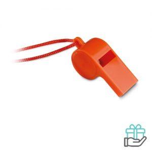 Scheidsrechters fluitje oranje bedrukken