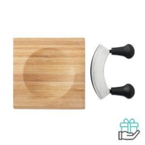 Set kaassnijplank bamboe houtkleur bedrukken