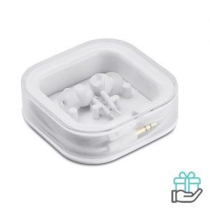 Siliconen oordopjes vierkant doosje wit bedrukken
