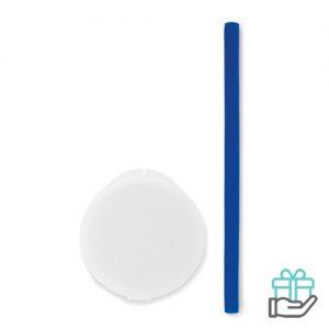 Siliconen rietje koninklijk blauw bedrukken