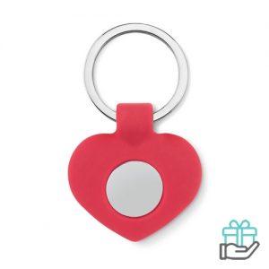 Siliconen sleutelhanger hart rood bedrukken
