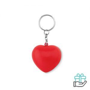 Sleutelhanger PU hart rood bedrukken