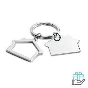 Sleutelhanger huisvorm glimmend zilver bedrukken