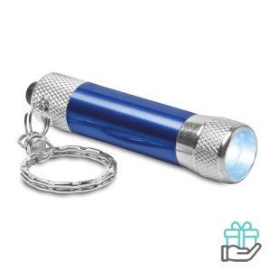 Sleutelhanger mini zaklampje blauw bedrukken