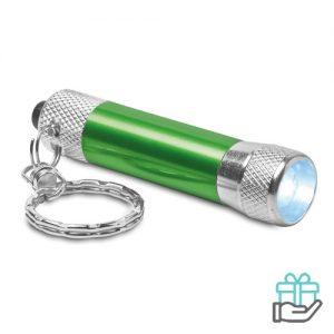 Sleutelhanger mini zaklampje groen bedrukken