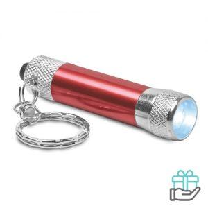 Sleutelhanger mini zaklampje rood bedrukken