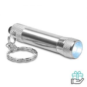 Sleutelhanger mini zaklampje zilver bedrukken