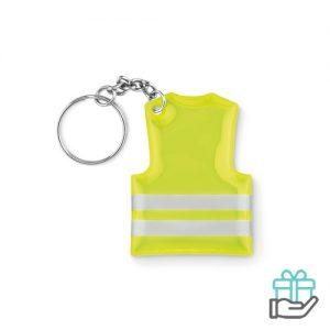 Sleutelhanger veiligheidsvest neon geel bedrukken