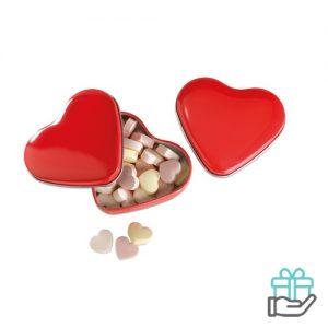 Snoepjes hartvormig doosje rood bedrukken