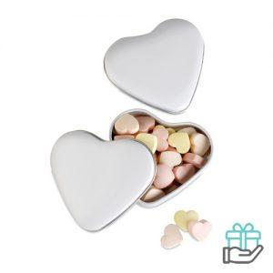Snoepjes hartvormig doosje wit bedrukken