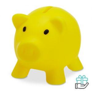 Spaarvarken budget geel bedrukken