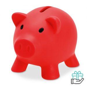 Spaarvarken budget rood bedrukken