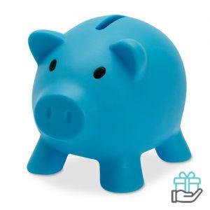 Spaarvarken budget turquoise bedrukken