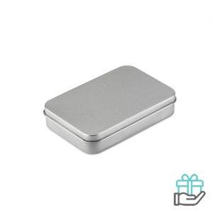 Speelkaarten blikken doosje mat zilver bedrukken