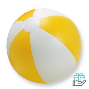 Strandbal gekleurd geel bedrukken