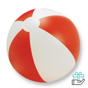 Strandbal gekleurd rood bedrukken