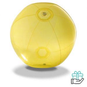 Strandbal transparant geel bedrukken