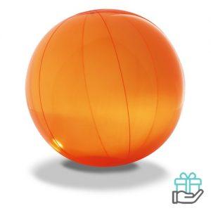 Strandbal transparant oranje bedrukken