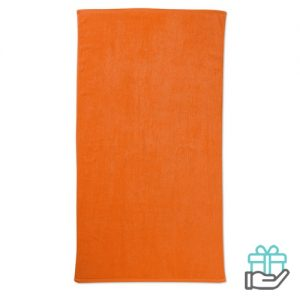 Strandhanddoek color oranje bedrukken