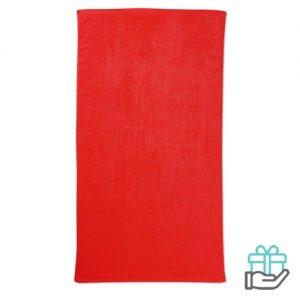 Strandhanddoek color rood bedrukken