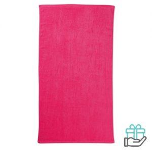 Strandhanddoek color roze bedrukken