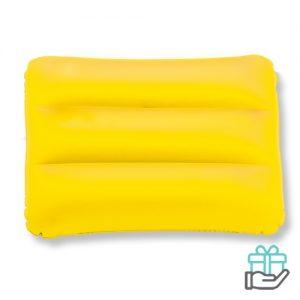 Strandkussen rechthoek geel bedrukken