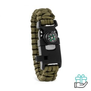 Survival armband groen bedrukken