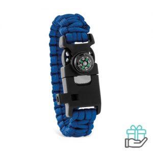 Survival armband koninklijk blauw bedrukken