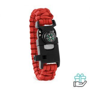 Survival armband rood bedrukken
