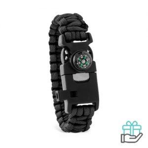 Survival armband zwart bedrukken