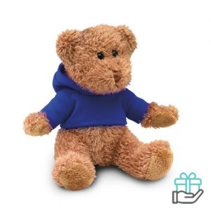 Teddybeer hoody blauw bedrukken